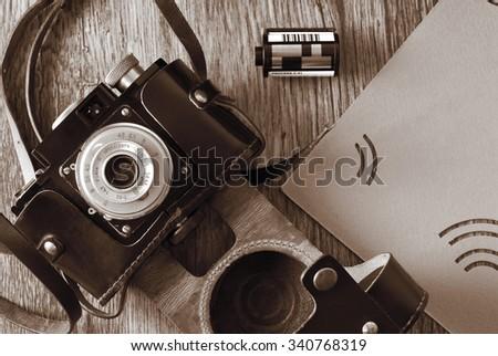 vintage old film photo camera - stock photo