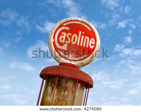 Vintage Old Gas Sign - stock photo