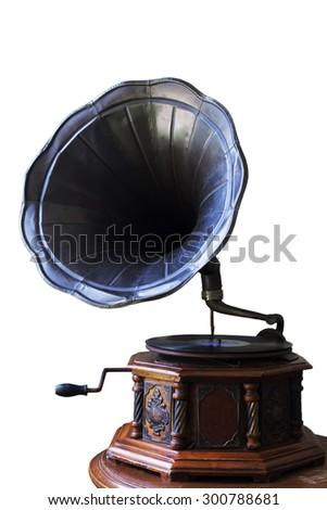 Vintage old gramophone isolated on white background - stock photo