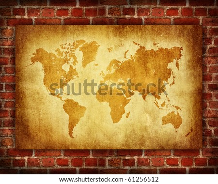 vintage old grunge map on red brick pattern - stock photo