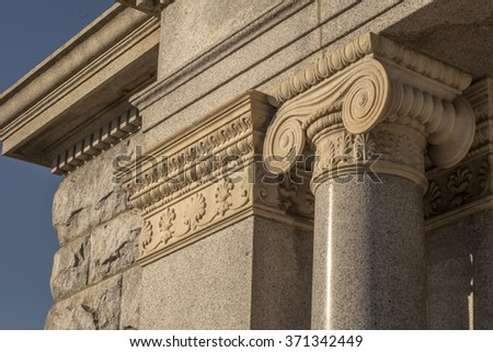 Vintage Old Justice Courthouse Column, The classical columns with walls, old building - stock photo