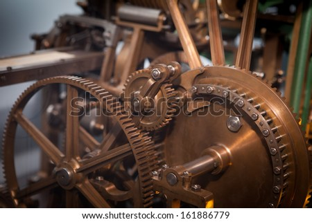 Vintage old Machine Cog, cooperation, teamwork and time concept  - stock photo