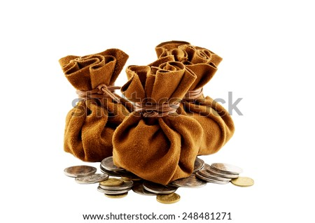 vintage old money bag with coins isolated - stock photo