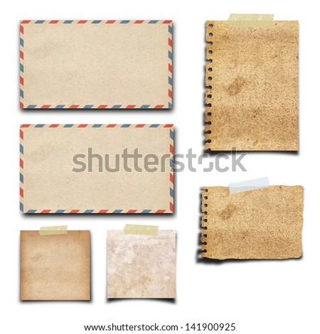 vintage old paper and envelope on isolated white background
