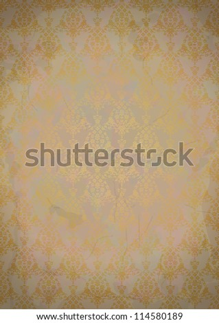 Vintage old paper background with gold seamless pattern.  Vector file in my portfolio. - stock photo