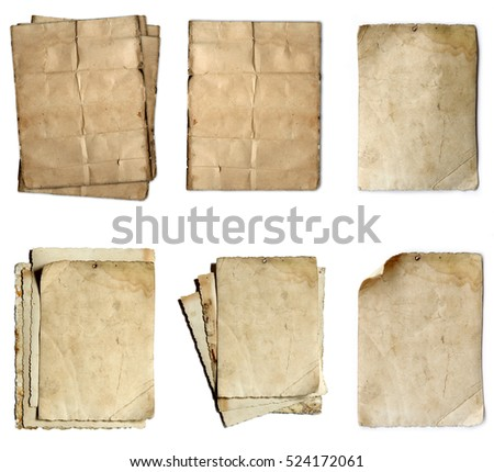 vintage old paper collection isolated on white background