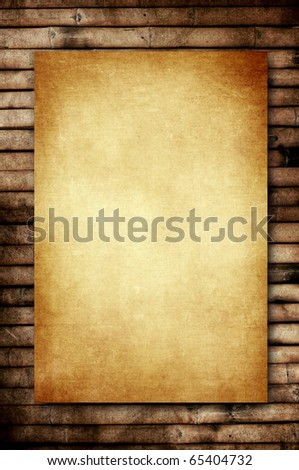 vintage old paper on old bamboo background for natural concept - stock photo