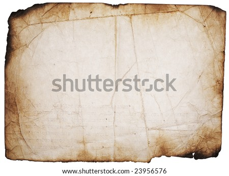 Vintage old paper page with burnt edges and with text imprint. Design element on white - stock photo