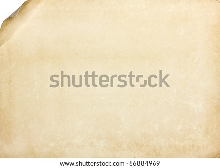 Vintage old Paper page with curl - stock photo