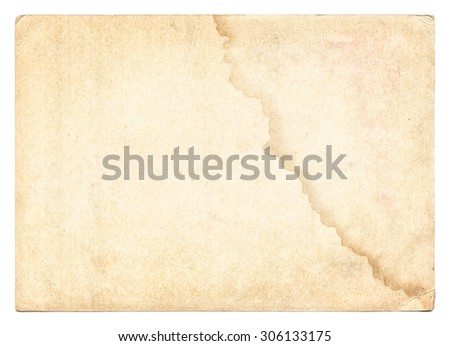 Vintage old paper texture isolated on white background - stock photo