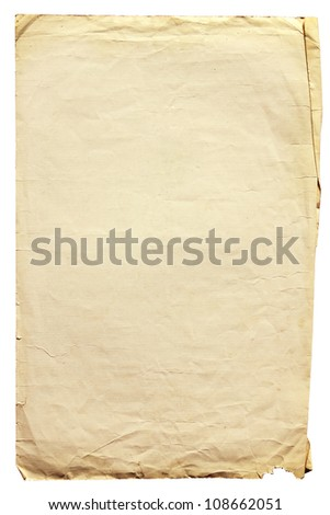 Vintage old paper with clipping path