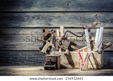 Vintage old place of carpenters work - stock photo
