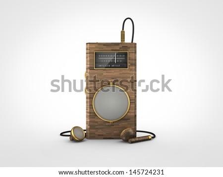 Vintage old portable radio - stock photo