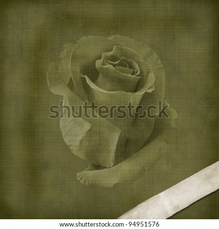 Vintage old postcard for congratulation with roses - stock photo