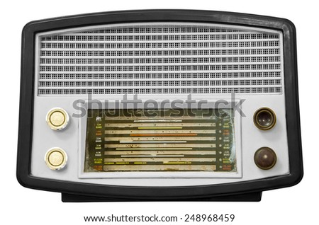 Vintage old radio isolated on white background, clipping path - stock photo
