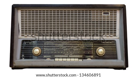 vintage old radio very fashionable retro style, isolated with clipping path