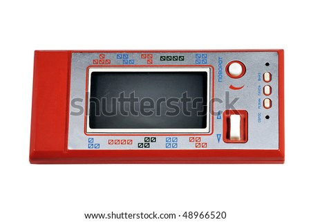 Vintage Old Red Gamepad - Tetris on White Background - stock photo