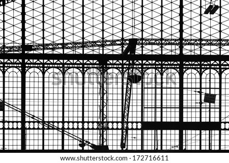 Vintage old retro train station window structure over white background. - stock photo
