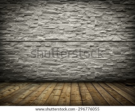 vintage old room with brick wall background - stock photo