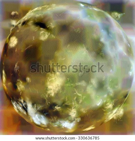 Vintage old spherical texture for background. With different color patterns: yellow (beige); brown; blue; green - stock photo