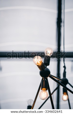 Vintage old style light bulb vintage color tone with copy space for text. - stock photo