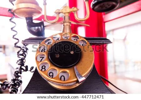Vintage old telephone. - stock photo
