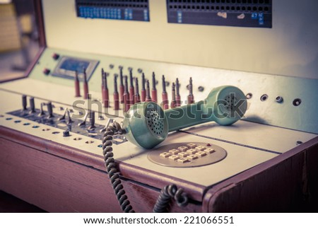 vintage old telephone, Green retro phone . - stock photo