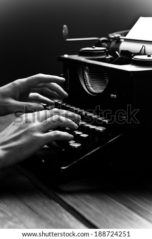 Vintage old typewriter, selective focus. Black and white