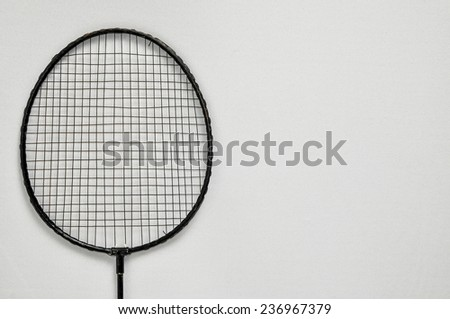 Vintage Old Used Black Racket on a White Background