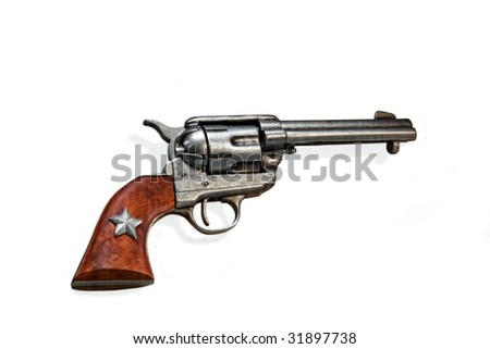 vintage old west gun isolated on white - stock photo