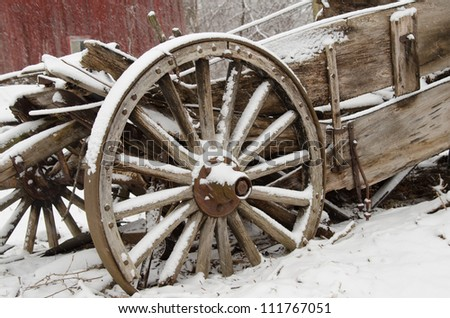 Vintage old west wooden wagon - stock photo