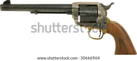 vintage old western handgun with wooden handle isolated on white - stock photo