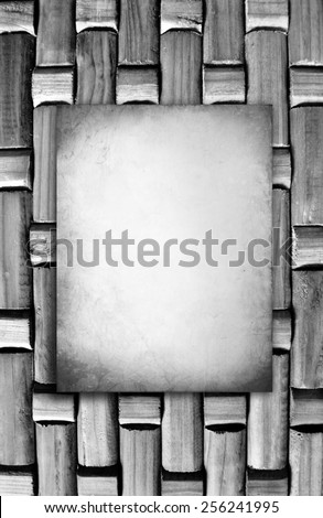 Vintage Old wood tile texture background with white poster - ready for your text - stock photo
