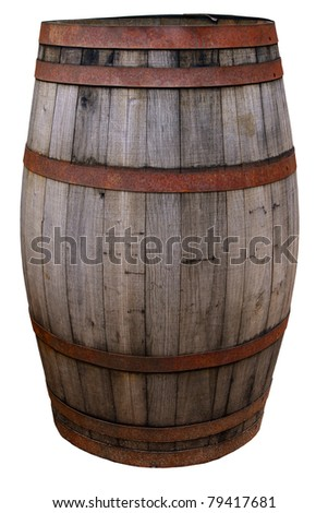 Vintage old worn barrel, isolated on background