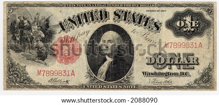 vintage one dollar bill series 1912 - stock photo