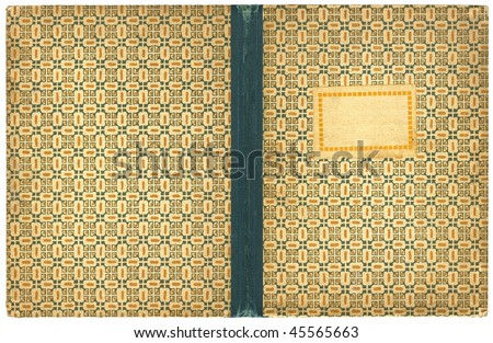 Vintage open book or notebook cover with empty label - isolated on white - with clipping path - XL size - stock photo