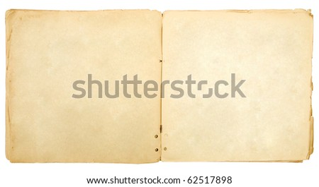 Vintage open book with soft shades on white background. - stock photo