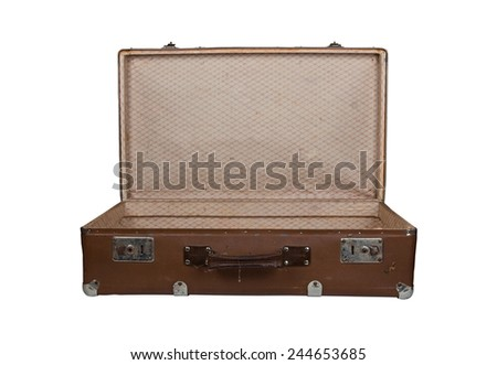 Vintage open brown leather suitcase, isolated on white - stock photo