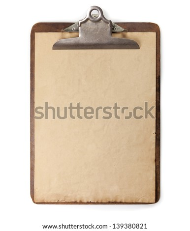 Vintage or antique clipboard and blank paper isolated on white. - stock photo