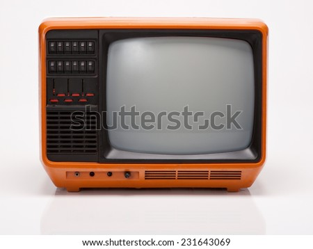 Vintage Orange TV isolated on White Background. Front View with Real Shadow. Copy Space for Text or Image