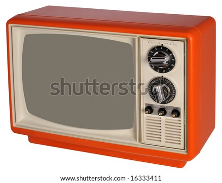 Vintage orange TV set - stock photo