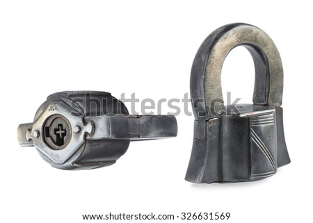 vintage original lock with an individual number and in different foreshortenings on white background
