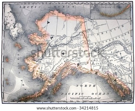 Vintage original map of Alaska, line-colored, dated 1889. - stock photo