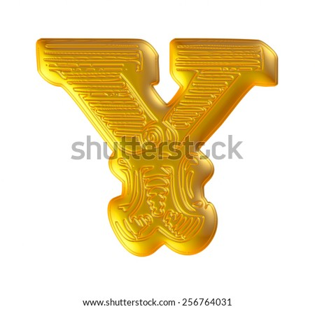 Vintage ornament golden letter Y in 3d render isolated on white - stock photo