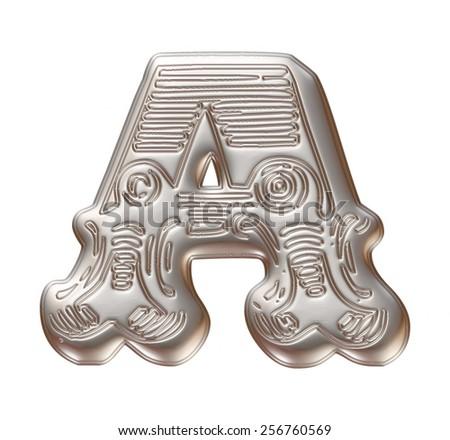 Vintage ornament Metal Letter A isolated on white background - stock photo