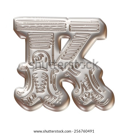 Vintage ornament Metal Letter K isolated on white background - stock photo