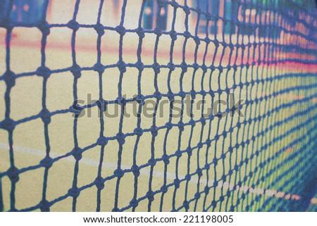 vintage outdoor tennis net paper picture - stock photo