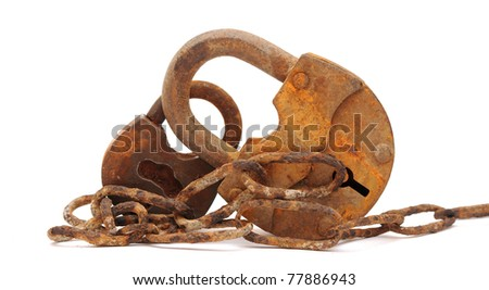 vintage padlock and very old chain - stock photo