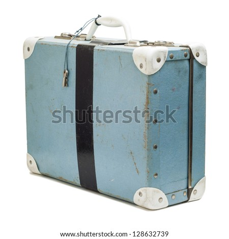 Vintage, pale blue and white school case, closed and reinforced with gaffer tape, with keys hanging from handle. Standing upright, isolated on white. - stock photo