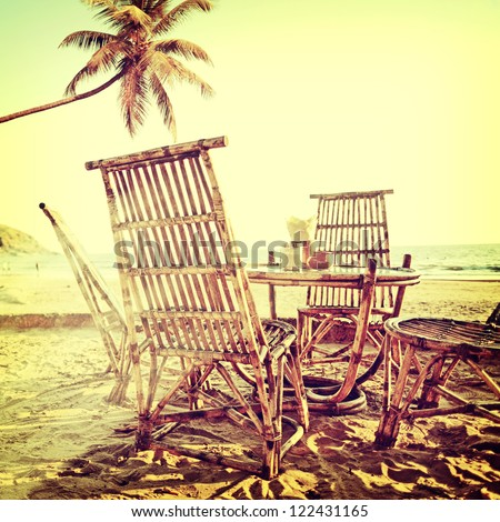 vintage palm beach background - stock photo
